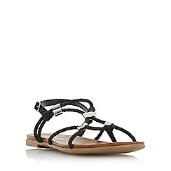 Head Over Heels by Dune - Black 'Layley' braided gladiator flat sandals