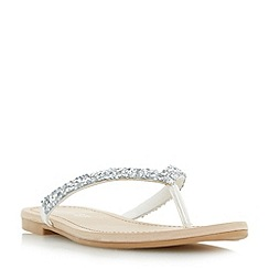 Head Over Heels by Dune - Silver 'Lolah' diamante toe post sandals