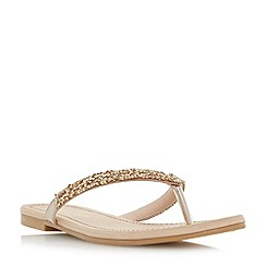 Head Over Heels by Dune - Gold 'Lolah' diamante toe post sandals