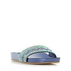 Dune - Blue 'Laizer' chevron embellished slider sandal