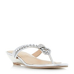 Roberto Vianni - Silver 'Katri' diamant  knot strap mini wedge sandals