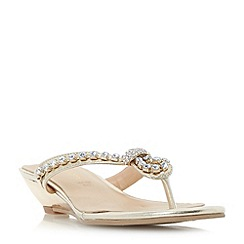Roberto Vianni - Gold 'Katri' diamant  knot strap mini wedge sandals