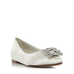 Dune - Ivory 'Briella' jewelled square brooch pointed toe flat shoes