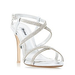 Dune - Silver 'Mansionn' strappy jewelled high heel sandals