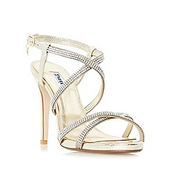 Dune - Gold 'Mansionn' strappy jewelled high heel sandals