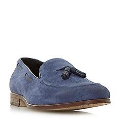 Dune - Blue 'Polperro' linen suede tassel loafers shoes