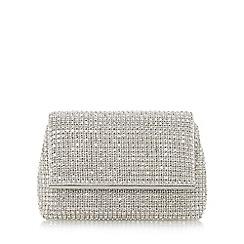 Dune - Silver 'Everlina' diamante embellished clutch bag
