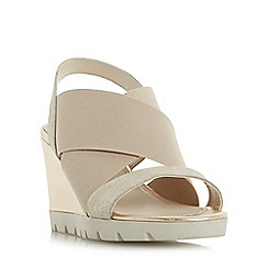 Roberto Vianni - Gold 'Kelsall' elasticated cross strap wedge sandals