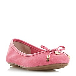 Dune - Pink 'Hype' bow and coin trim unlined ballerina shoes