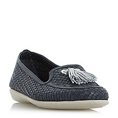 Roberto Vianni - Navy 'Greenwich' comfort tassel detail woven loafer shoes