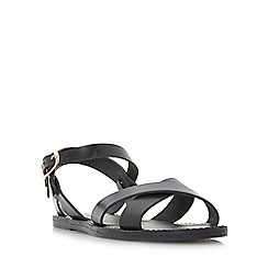 Dune - Black 'Laila' cross vamp flat sandals