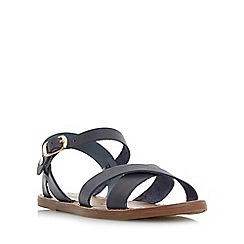 Dune - Navy 'Laila' cross vamp flat sandals