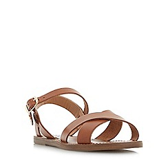 Dune - Tan 'Laila' cross vamp flat sandals