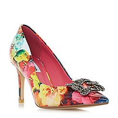 Dune - Multicoloured 'Betti' jewelled brooch detail mid heel court shoes