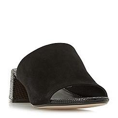 Dune - Black 'Mosco' flare heel mule sandals
