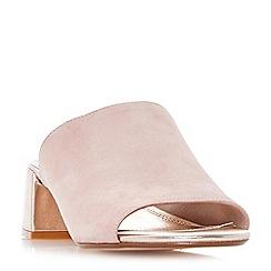 Dune - Light pink 'Mosco' flare heel mule sandals