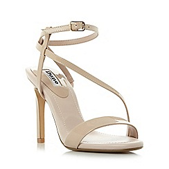Dune - Natural 'Misses' asymmetric strap high heel sandals