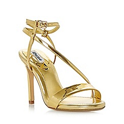 Dune - Gold 'Misses' asymmetric strap high heel sandals