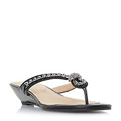 Roberto Vianni - Black 'Katri' diamant  knot strap mini wedge sandals