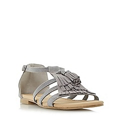 Head Over Heels by Dune - Grey 'Lylaa' tassel and fringe detail flat sandals