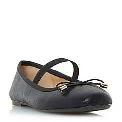 Head Over Heels by Dune - Black 'Halona' elasticated strap ballerina shoes
