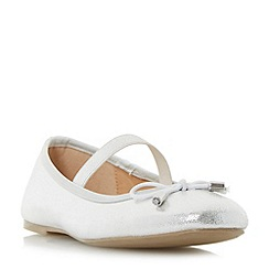 Head Over Heels by Dune - Silver 'Halona' elasticated strap ballerina shoes