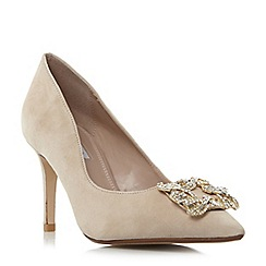Dune - Natural 'W betti' wide fit jewelled brooch detail court shoes
