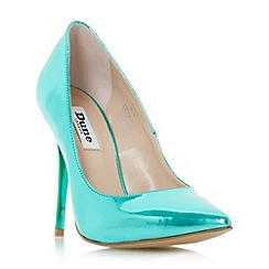 Dune - Green 'Blaze' metallic pointed toe court shoe