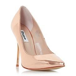 Dune - Rose 'Blaze' metallic pointed toe court shoe