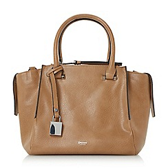 Dune - Tan 'Delfie' triple zip compartment winged handbag
