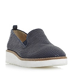 Dune - Navy 'Guise' slipper cut flatform shoes