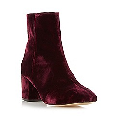 Dune - Dark red 'Pebble' block heel velvet ankle boot