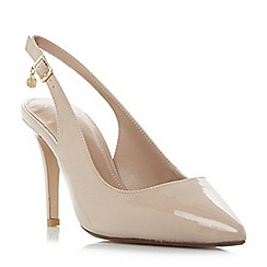Dune - Natural 'W cathy' wide fit slingback mid heel court shoes