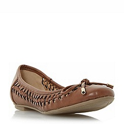 Head Over Heels by Dune - Tan 'Hazza' woven ballerina shoes