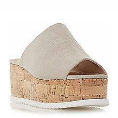 Head Over Heels by Dune - Grey 'Kezzia' cork effect flatform mule sandals