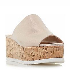Head Over Heels by Dune - Rose 'Kezzia' cork effect flatform mule sandals