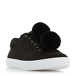 Head Over Heels by Dune - Black 'Emza' pom pom trainers