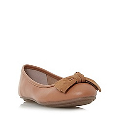 Dune - Tan 'Hypnotise' bow detail unlined ballerina shoes