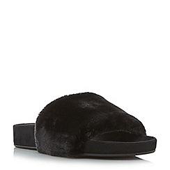 Dune - Black 'Lush' fluffy faux fur slider