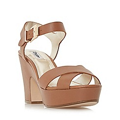 Dune - Tan 'Iyla' cross vamp block heel sandal