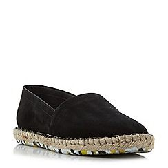Dune - Black 'Free' slip on suede espadrille shoe