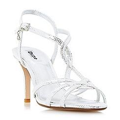 Dune - Silver 'Miniee' strappy mid heel sandals