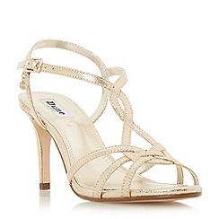 Dune - Gold 'Miniee' strappy mid heel sandals