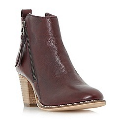 Dune - Maroon 'Pontoon' stacked heel side zip ankle boots