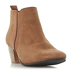 Dune - Tan 'Perdy' block heel ankle boots