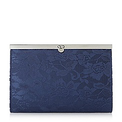 Roland Cartier - Navy 'Bronty' lace penny lock clutch bag