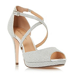 Roland Cartier - Silver 'Marra' cross strap peep toe platform sandals