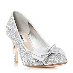 Dune - Silver 'Bow' bow trim pointed toe court shoes
