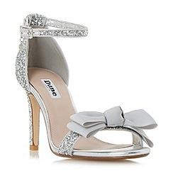 Dune - Silver 'Moella' layered grosgrain bow high heel sandals