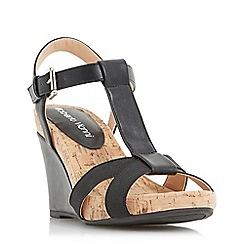Roberto Vianni - Black 'Karie' cross strap t-bar wedge sandals